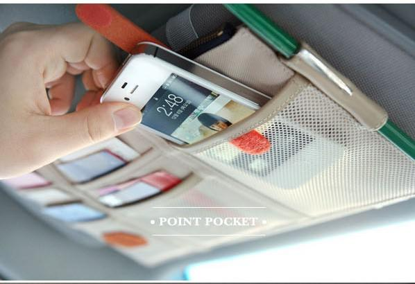 Multifunction Car Organizer Sun Visor Point Pockets Oxford Cloth Bag Cell Phone Card Bills Debris Pouch Cars Mini Storage Container Bags
