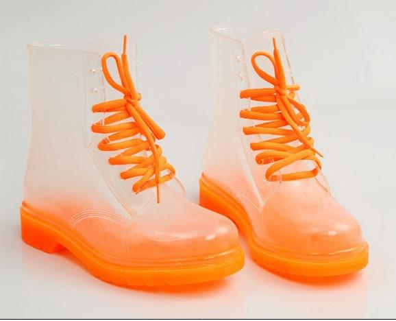 2016 Clear Rain Boots Color Soles Lace Up Ankle Waterproof ...