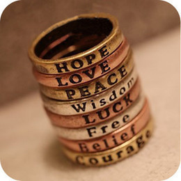 Wholesale Peace Rings - 60PCS mixed styles Retro Wishing Rings HOPE LOVE LUCK PEACE BELIEF COURAGE WISDOM