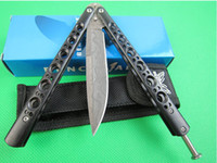 Wholesale Damascus 58hrc - butterfly BM42S Corrosion wave Damascus pattern Free-swinging Hunting Folding Pocket flail knife Survival Knife Xmas gift 6pcs freeshipping