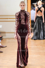 Wholesale High Neck Beaded Design - New Design Zuhair Murad Evening Dresses Sexy High Collar Lace Applique Beads Sheath Floor-Length Prom Dresses BO2171
