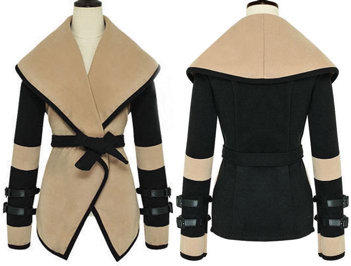 Estilo europeo Nuevas mujeres mangas de cuero más el tamaño de lana ropa victoriana militar Cape Outerwear abrigo de invierno