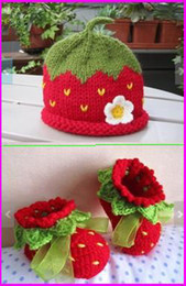 Wholesale Cheap Toddler Hats - 45%off!Red Strawberry Crochet set Baby Booties and hat,girl shoes sale,free shipping toddler shoes,baby wear,ribbon cheap shoes. 2sets 6pcs