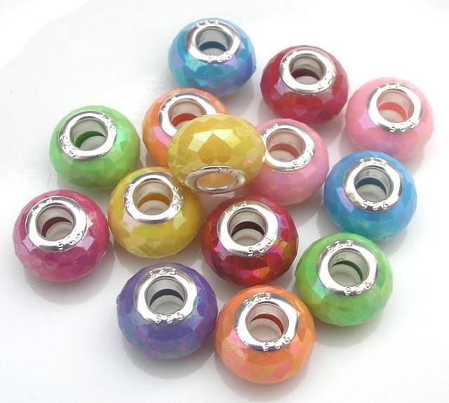 Color de la mezcla encantos acrílico agujero grande suelta perlas Fit DIY pulsera europea por lote