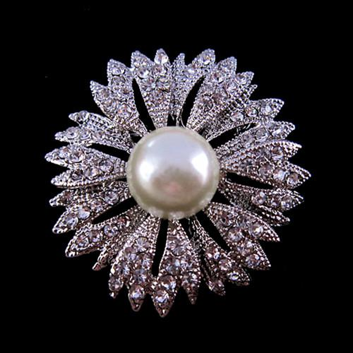 Broche de boda con flores de plata Diamante y Pearl Center Flower