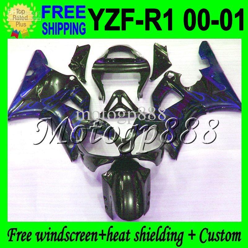 2gifts für Blaue flammen YAMAYA YZF R1 YZF 1000 2000-2001 YZF-R1 YZF-1000 Benutzerdefinierte MP99836 Schwarz YZFR1 00 01 2000 2001 YZF1000 Verkleidungen