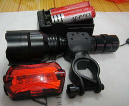 Wholesale Rear Led Flashlights - Ultrafire 1600 Lumens 5-Mode LED Flashlight CREE XM-L T6 LED Torch + Bicycle Rear Light + 18650 Battery + Charger + Holder Free Shipping