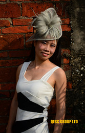 Wholesale Church Headband Hat - Silver GREY HOT sinamay fascinator sinamay hat in SPECIAL shape with feathers for church,Kentucky Derby