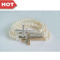 Wholesale White Pearl Cross Bracelet - Jewelry Sideways Cross Pearl Bracelet White Freshwater Pearl Bracelet Crystal Rhinestone Sideways Cross Bracelet 10pcs lot Mix Color