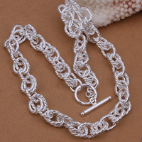 Wholesale Enamel Box Chain Necklace - 66.7g Men's Necklace Jewelry 925 sterling silver 18'' link chains n337 gift box free shipping