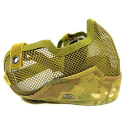 China Brand Generation 2 Camo Half Face Metal Net Mesh Protect Mask For Airsoft Hunting Free Shipping suppliers