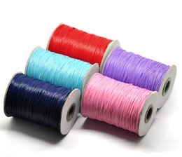 Wholesale Wax Cotton Cord Wholesale - JLB 1mm 5Rolls(180m Roll) Wholesale Fashion Jewelry Findings Mixed Color Waxed Cotton Cords fit Necklace Bracelet DIY Materials Accessories