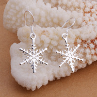 Wholesale Sterling Silver Drop Earings - 925 steling silver Christmas snowflower drop earings E302 gift boxes bags free shipping