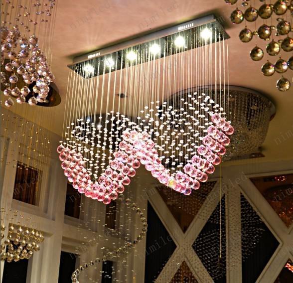 nimi108 L90cm x H80cm K9 Cristallo rosa Due lampade a sospensione a forma di cuore Illuminazione Droplight Lampadario Camera da letto Lampada Soggiorno matrimonio Sposarsi