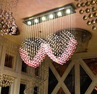 candelabros de dormitorio rosa al por mayor-nimi108 L90cm x H80cm K9 Pink Crystal Dos luces colgantes en forma de corazón Iluminación Droplight Lámpara del dormitorio Lámpara de la sala de estar Boda Casarse