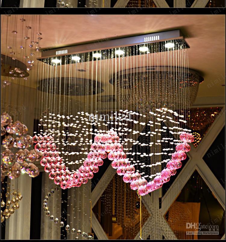 nimi108 L90cm x H80cm K9 핑크 크리스탈 두 개의 하트 모양의 펜던트 조명 조명 Droplight 샹들리에 침실 램프 거실 결혼 결혼