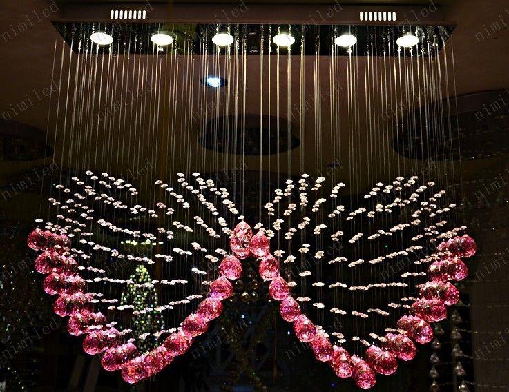 nimi108 L90cm x H80cm K9 Pink Crystal Dos luces colgantes en forma de corazón Iluminación Droplight Lámpara del dormitorio Lámpara de la sala de estar Boda Casarse