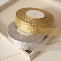 Wholesale Glitter Gift Wrap - 10 Roll Golden Glitter Metallic Jewelry Gift Wrapping Ribbon 2cm Gold ( 1 Roll 25 yds,22 m)