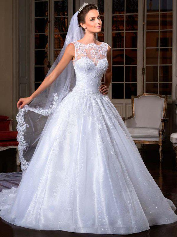 Nueva llegada 2019 elegante magnífico ilusión de una línea de encaje alto botón de encaje trasero Vestidos de novia Vestidos nupciales Vestidos de matrimonio personalizado
