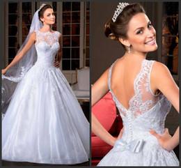 Wholesale Gorgeous Elegant Wedding Dresses - NEW arrival 2014 elegant gorgeous a-line illusion high collar lace button back wedding dresses Bridal Gowns