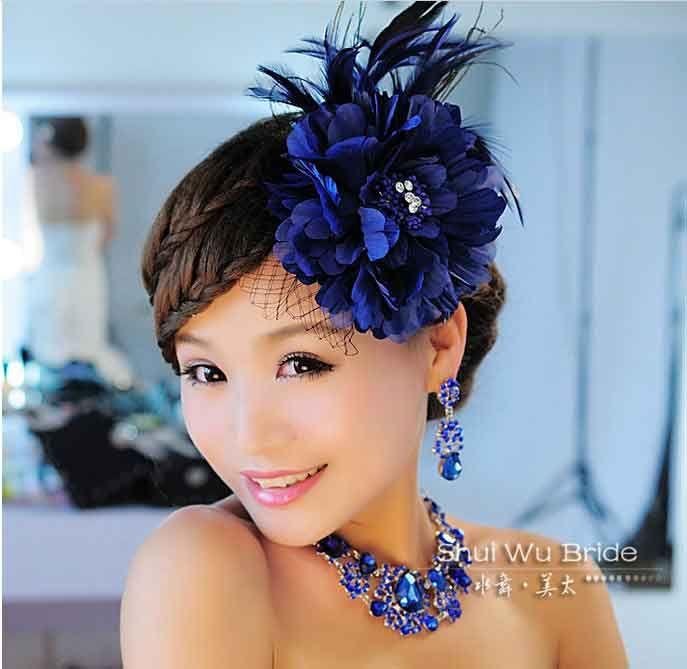 Peacock Blue Bridal Jewelry Crystal Headwear Earrings Necklaces
