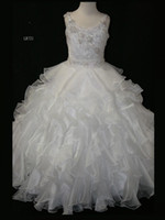 Wholesale Spaghetti Strap Dress Shining - Shining Spaghetti Strap Princess White Pageant Dresses For Little Girl Ball gown Organza Beads Floor Length Sweetly Long Flower Girl Dresses