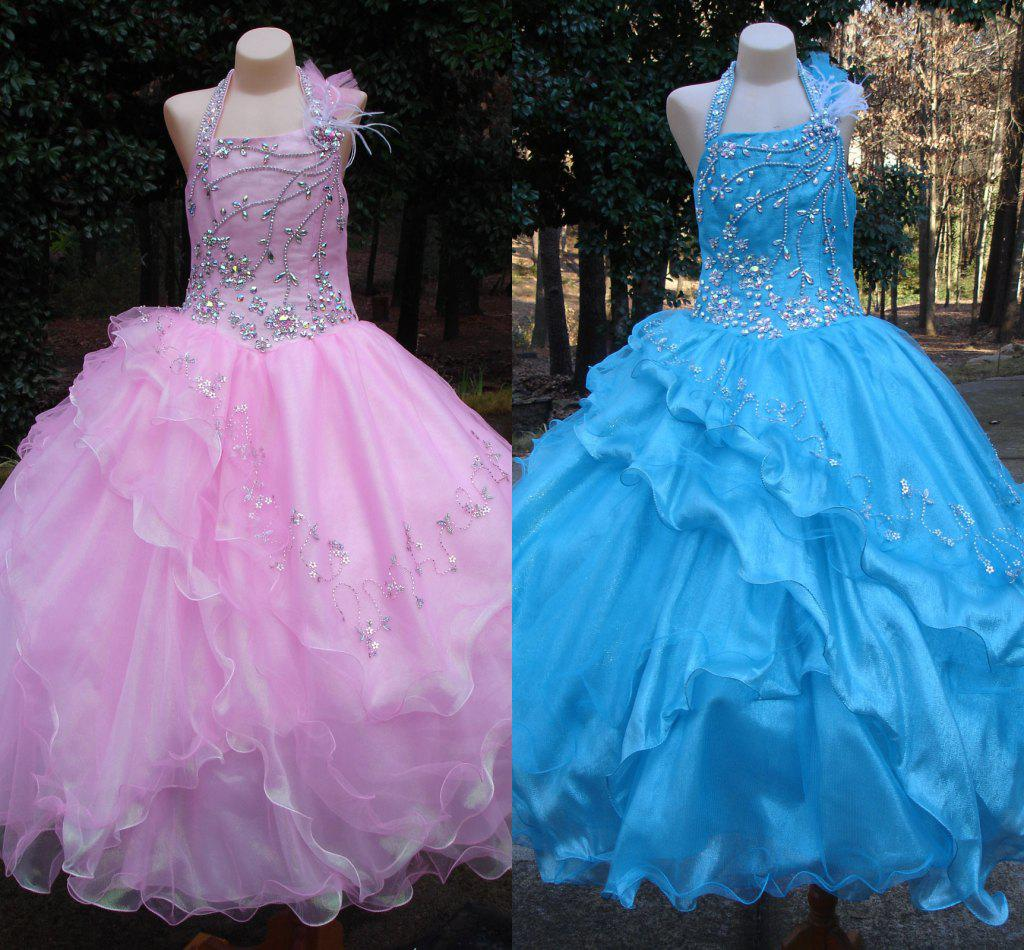 Long Pink White Sky Blue Little Girl's Pageant Dresses ... - photo#47