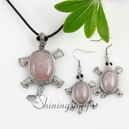 морская черепаха подвижный аметист розовый кварц нефрит полудрагоценный камень ожерелья подвески и подвески серьги комплекты ювелирных изделий ручной работы Spss0048CY0 от