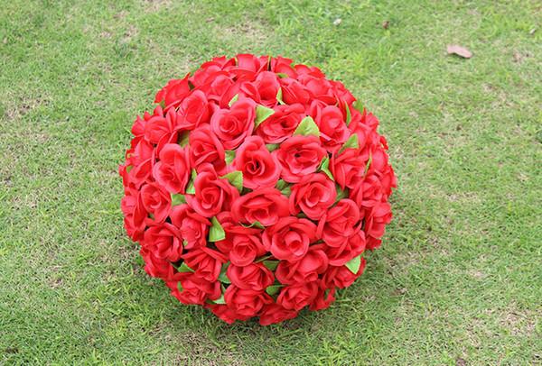 Bola de la flor de las rosas de la tela artificial del color amarillo púrpura blanco rojo rosado para la decoración de la boda del partido (diámetro de 20 cm)