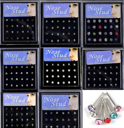 Wholesale Surgical Body Jewelry - 24pcs Box Mix Styles Stainless Surgical Steel Nose Stud Women Punk Crystal Body Jewelry Nose Ring Piercing [NS1-NS8]
