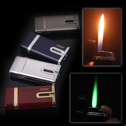 Wholesale Dual Flame - Free Shipping Classic Metal Dual Flam Windproof Jet flame Butane Gas Cigar Cigarette Torch Lighter
