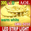 20m lot 300leds LED Light Strip Warm White SMD 5050 Flexible LED Strip light Non-waterproof + 12v 5a Power supply Backlighting lighting