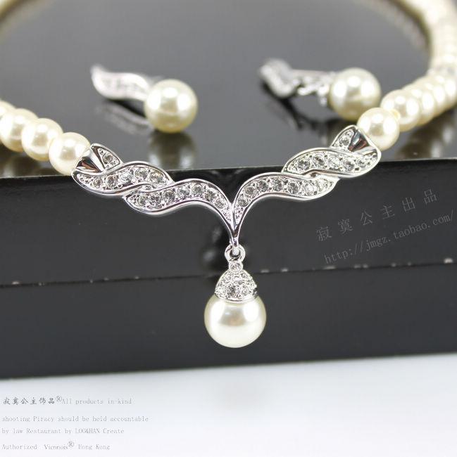 Joyería barata para mujer Plata Oro tono Perla Diamante de imitación Cristal Diamante Boda Nupcial Collar y pendientes Dama de honor Conjunto de joyas SF