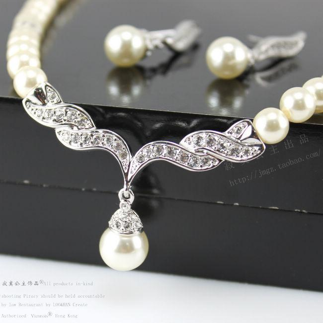 Cheap Jewelry For Women Silver Gold Tone Pearl Rhinestone Crystal Diamante Wedding Bridal Necklace and Earrings Bridesmaid Jewelry Set SF