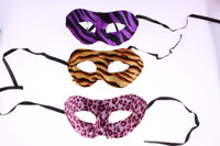 Wholesale Film Suppliers - Masquerade Masks Halloween Party Masks Leopard Stripe Cloth Mardi Gras Masks Party Supplier Masquerade Half Face Masks