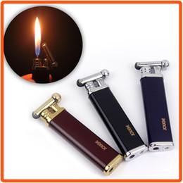 Wholesale Thin Butane Lighter - Free shipping Butane Gas Cylinder Flint Wheel Cigar Cigarette Lighter Blue Black Red Ultra Thin Mini