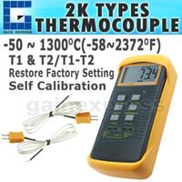 Wholesale K Type Thermocouple Thermometer - DM-68022 Digital Thermometer 2 K-Type Metal Thermocouples Probe Sensor -50 ~ 1300 degree C (-58 ~ 2372 degree F) Range