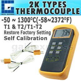 Wholesale Digital C F Thermometer - DM-68022 Digital Thermometer 2 K-Type Metal Thermocouples Probe Sensor -50 ~ 1300 degree C (-58 ~ 2372 degree F) Range