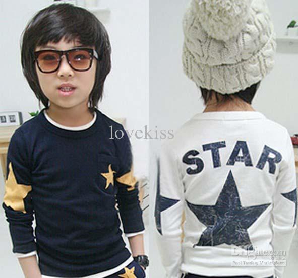 Chemises en coton T-shirt T-shirt Enfants T-shirts T-shirts Chemise enfant Mode Chemises à col rond Kids Vêtements Vêtements Stars Imprimé Casual T-shirt
