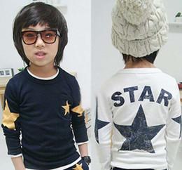 Wholesale Star Boy Shirt - Cotton Shirts Long Sleeve T Shirt Children T Shirts Child Shirt Fashion Round Neck Shirts Kids Clothing Boys Stars Printed Casual T Shirt