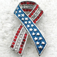 12pcs / lot Оптовая продажа CRYSTAL RHINESTONE ENAMELING США FLAG RIBBON BROOCHES FASHION COSTUME PIN BROOCH JEWELRY GIFT C302