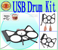 Wholesale Drum Electronic Toys - USB Drum Kit Cool Gadget USB ROLL UP DRUM KIT for PC Digital Electronic Pads Kit Percuss,Electronic Drum Set Child Toy Chrismas Gift