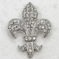 Wholesale pin sign - 12pcs lot Wholesale Crystal Rhinestone Fleur-De-Lis Sign Brooches Fashion Costume Pin Brooch & Pendant C323