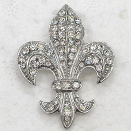Wholesale engagement signs - 12pcs lot Wholesale Crystal Rhinestone Fleur-De-Lis Sign Brooches Fashion Costume Pin Brooch & Pendant C323