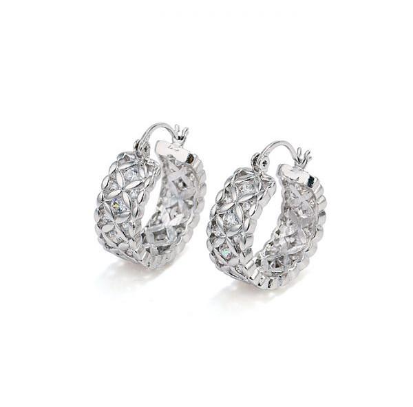 (257E) Luxury Women Hoop Earrings Jewelry Flower White Gold Filled with Clear Zricon