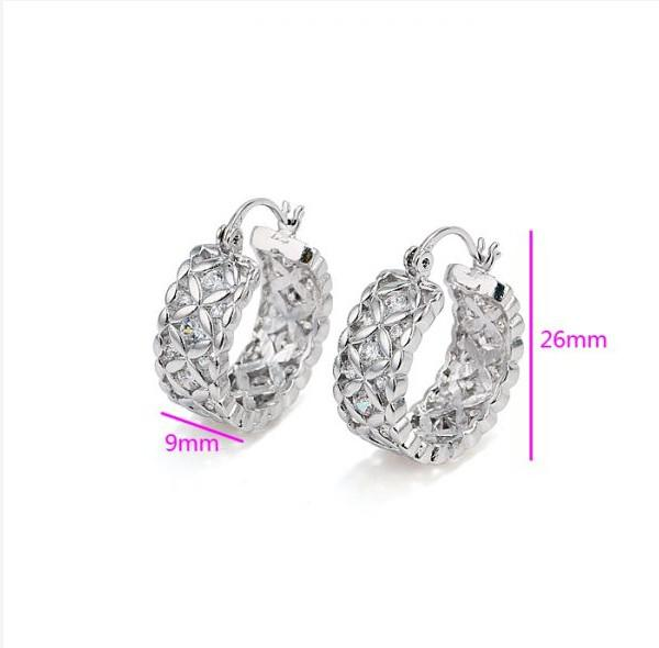 257E Luxury Women Hoop Earrings Jewelry Flower White Gold Filled with Clear Zricon