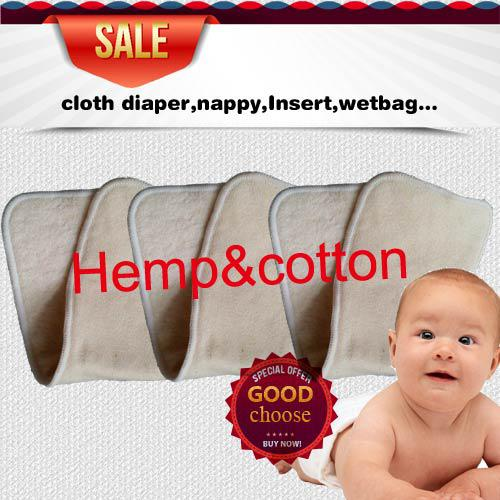 top popular Promotion US Free Shipping 100 pcs 4 layers(2+2) Reuseable Washable Hemp Organic Cotton Insert Baby Cloth Diaper Nappy Inserts 2020