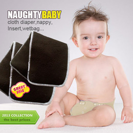 Wholesale Charcoal Bamboo Cloth Diaper Inserts - US Promption Free shipping 500 pcs Reuseable Charcoal bamboo Insert 4 Layers (2+2) Baby Cloth Diaper Nappy Inserts