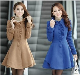 Wholesale Women Long Peacoat - free shipping slim fit long woolen design women's wool coat outerwear plus size peacoat