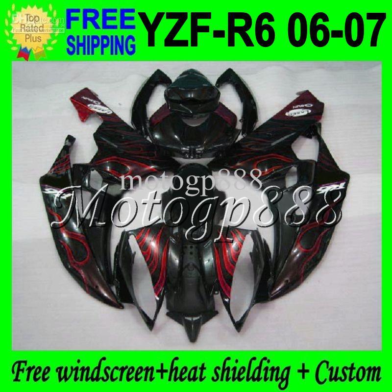 2gifts High MPuality para YAMAHA 06-07 Rojo llamas negro YZF-R6 YZF R6 YZF 600 06 07 YZF600 Rojo BLK YZF-R600 MP96364 YZFR6 2006 2007 Fairing